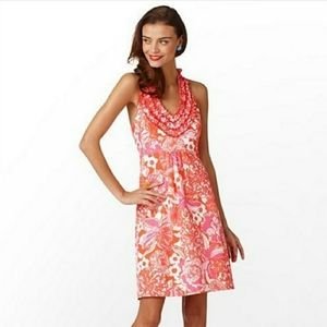 Lilly Pulitzer Lillian Pink Halter Dress Size 4
